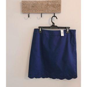 NWT Talbots Navy Blue, Scallop Hem Skirt